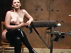 Masturbating, Masturbation, Pussy, Machine, Latex