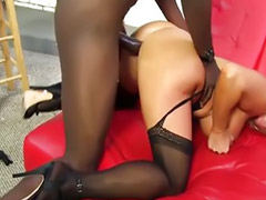 Interracial, Stocking, Blonde, Stockings
