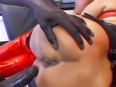 Interracial anal, Ass, Interracial, Boots, Big cock, Latex