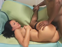 Interracial, Black, Stocking, Lick, Cute