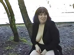 Public, Bbw, Big tits, Masturbation, Outdoor, Amateur