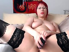 Rubbing herself, Redhead dildo, Redhead dildos, Hot girl dildo masturbation, Hot big boobs, Dildo and stockings
