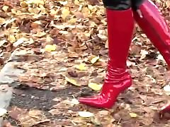 Walks in, Walking girl, Red panty, Red hot panties, Red bdsm, Panty boots
