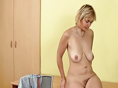 17-7, 17 girl, 17:1, Solo mature masturbation, Mature blonde solo, Mature blond solo