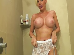 Shower, Big tit shemales, Big ass in shower, Shemale ass anal, Shemale shower, Blonde bathroom