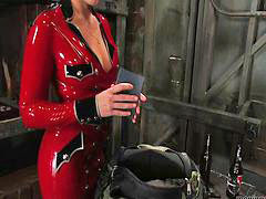 Latex, Anal strap on, Penny flame, Latex bondage, Strap-on femdom, Latex fetish