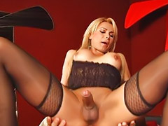 Shemale, Shemales, Room, Latin, Anal stockings, Red