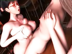 Threesome, Big boobs, Anime, Big tits