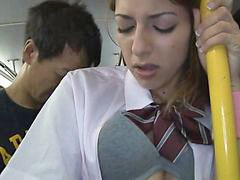 Bus, Schoolgirl, Groped, Blonde