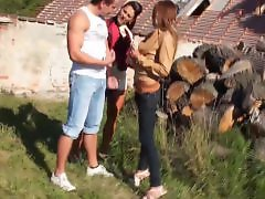 Threesome with stockings, Whille, Threeways, Threeway, Stockings outdoors, Stocking outdoor