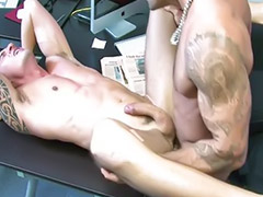 Office, Swap, Office gay sex, Gay tattoo, Swapping, Cum swapping