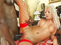 Big cock on, Cum on stocking, Pierced cock, Piercing cock, Pierce cock, Interracial stocking