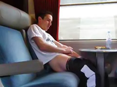 Public, Public masturbation, Train, Ass, Gay handjob