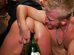 Bottle, Champagne, Bottle anal, Party of 3, Sex in party, Sex of party
