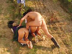 Outdoor love, Threesome outdoor, Loves anal cum, Outdoors threesome, Outdoor threesome, Blondes love black