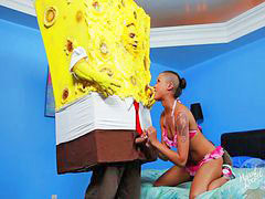 Ebony, Deepthroat, Handjob, Tattoo, Piercing, Black