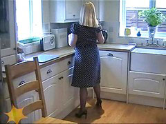 Milf housewife, Fashion, Silk, In blue, Housewife in stockings, Silk stockings
