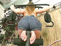 Sporty, Pussy stretched, *gym, The anus, Nude gym, Pussy workout