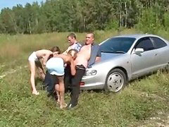 Russian outdoors, Russian foursome, Russian car, Outdoor russians, Outdoor russian, Car russian