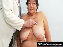 Exam, Clinic, Gyn, Elder, Busty woman, O exam