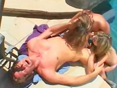 Pool threesome, Threesome pool, Pool toy, Blowjob at pool, Blonde toy outdoor, At pool