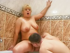 Chubby blonde, Blonde bathroom, Bathroom mature, Rosemary, Chubby mature, Mature lick