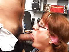 Boss, Mature deepthroat, Deepthroat mature, Sex in office, Mature boss, Mature office
