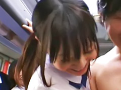 School, Japanese, Schoolgirl, Asian, Handjob, Bus