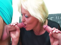 Mature blowjob, School, Mature