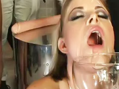50, D cup, Big load, Bukkake swallow, Bukkake gangbang, Swallow loads