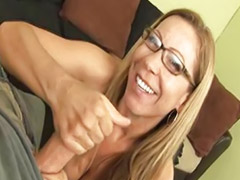 Jerking, Glasses, Lady, Milf jerk, Jerk off, Jerked off