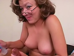 Mature handjob, Glasses