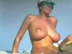 Beach, Giant, Giant tits, Beach public, Beach spycam, Boob on boob
