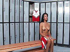 Locker room, Cheerleader, In school, Ebony cheerleader, Black ebony teen, Teen cheerleader