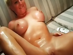 Oil, Oiled, Me and my, Oil masturbates, Filled, Big oiled tits