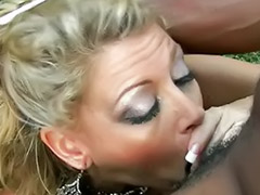Throat, Down, Throat cum, Mature interracial, Blond mature, Outdoor cocks