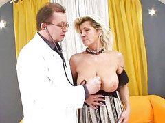 Examination, Blonde granny, Blonde doctor, Big tits granny, Granny blowjob, Blond granny