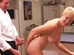 Mature, Kitchen, Mature handjob