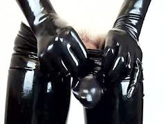 Gloves, Tight pants, Tight latex, Latex pants, Latex glove, Latex cumshot