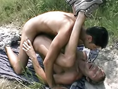 Outdoor wank, Kiss with cum, Two gay guys wanking, Two guys wanking, Two guys cum, Two couple anal