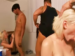 Three, Threes, Tight blonde, Three brunette, Enjoy blowjobs, Blowjobs three