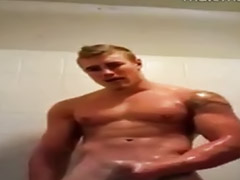 Shower, Jerking, Blondes in shower, Gay shower, Jerk, Hot gay