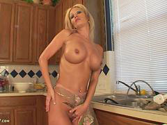 Naked in kitchen, Busty kitchen, Busty cougar, Breas, Cougar in kitchen, Cougar busty