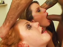 Pole, Meat-, Threesome gagging deepthroat, Poling, Gag swap, Redhead deepthroat