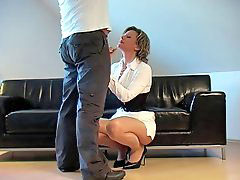 Handjob german, Germans handjobs, German handjobs, In front of, White heel, Dressed handjob