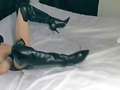 Stilettos, Stiletto, Leather boots, Cum in boots, Leather pant, Leather boot