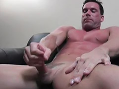 Gaging, Muscularity, Mason, Masturbating male, Solo male masturbation, Solo cum shot