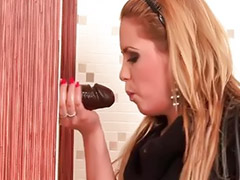 Glory hole, Glory, Big dildo, Big black dildo, Blonde bathroom, Big dildoes