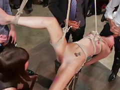 Femdom, Bondage, Public sex, Public masturbation, Public, Brunette and blonde