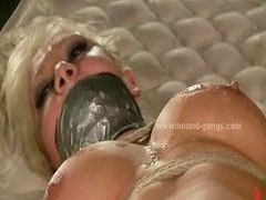 Gang bang, Brutal, Blonde, Busty